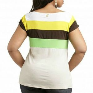 NWT Colorblock Multicolor Slashed Jersey Tee 2X